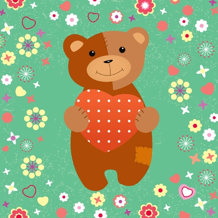 teddy bear with a heart on the lawn in spring Vector