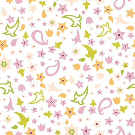 Vector seamless floral fabric pattern with flowers Vector