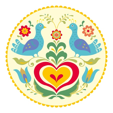 hex: Birds and heart, decorative illustration traditional folk style