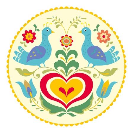 Las aves y el corazón, el estilo decorativo ilustración tradicional popular