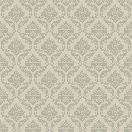neutral: Classic vintage seamless wallpaper; damask ornmental pattern Illustration