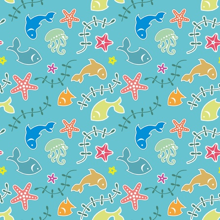 Colorful sea pattern of stylized fishes and marine life