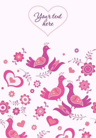 Greating card template, birds, hearts and flowers Stock Vector - 13529360