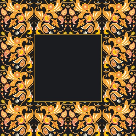Ornate floral frame; card template with decorative flowers Vector