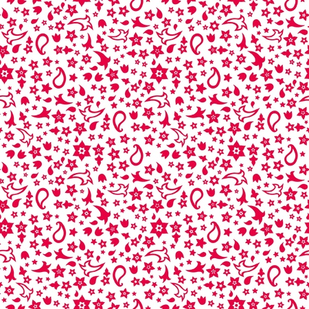 Red and white seamless pattern of little flowers Vector