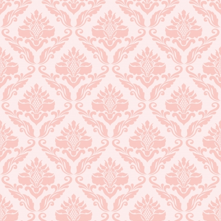 damask seamless: Classic seamless wallpaper in pink Illustration
