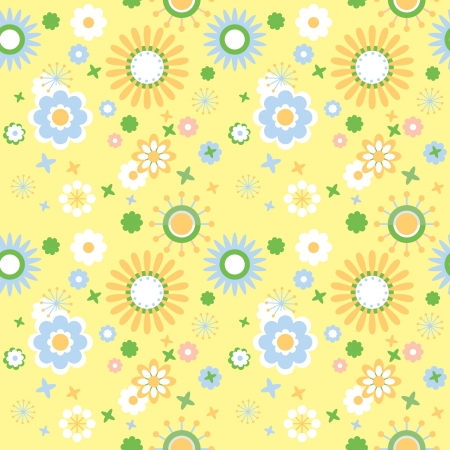 Floral wallpaper decorative flowers at yellow background Stock Vector - 13910281