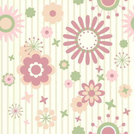 Striped floral seamless wallpaper Illustration
