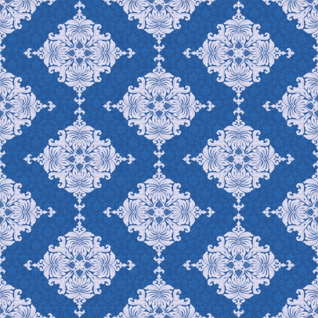 absract art: Classic wallpaper, floral seamless pattern in blue