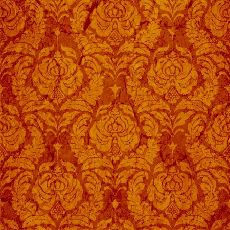 classic seamless ornament Damask style in red and gold photo