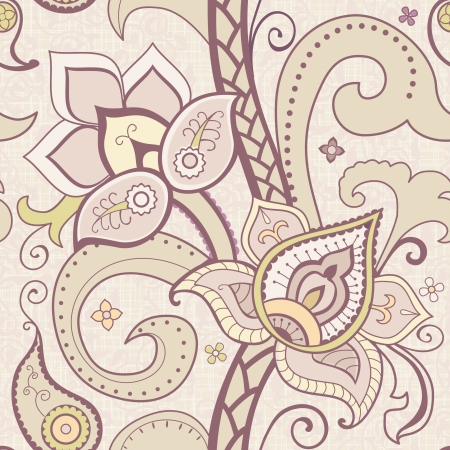 Seamless pattern with bright flowers and paisley at light background