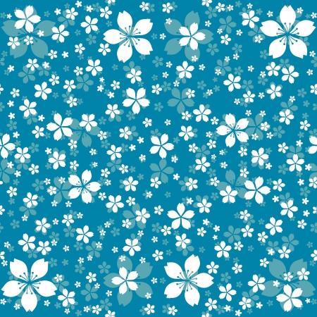 アクアマリン: 装飾的な白い花のシームレスな花柄  イラスト・ベクター素材