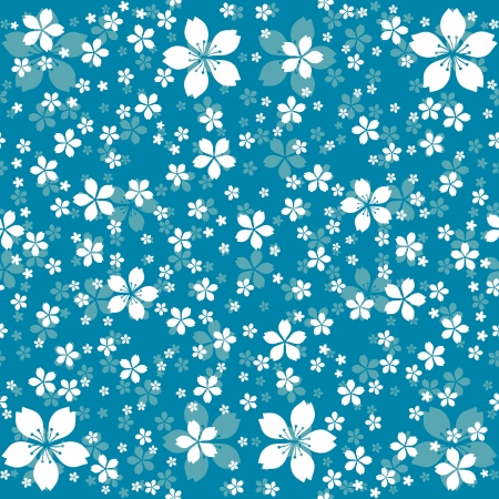 turquoise background: Seamless floral pattern of decorative white flowers Illustration