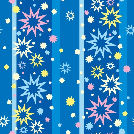 Seamless pattern, colorful stars, blue striped background Vector