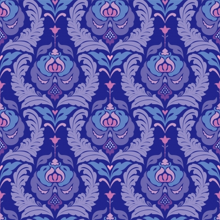 Seamless damask classic wallpaper in blue Vector