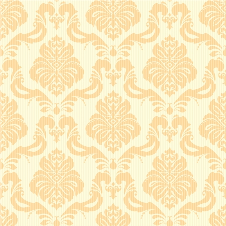 Classic damask floral seamless wallpaper in light orange and yellow Vector