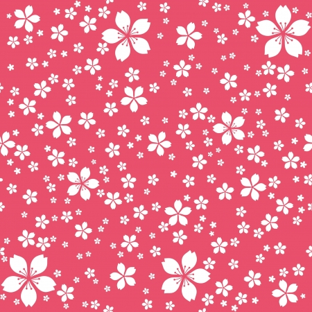 Cute floral seamless wallpaper, white flowers at red background Vector
