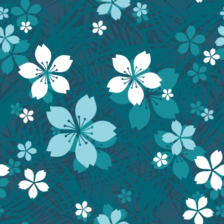 Flowers in grass decorative seamless floral pattern Vector