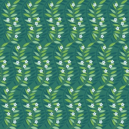 Green floral ornamental pattern; decorative flowers and leaves Vector