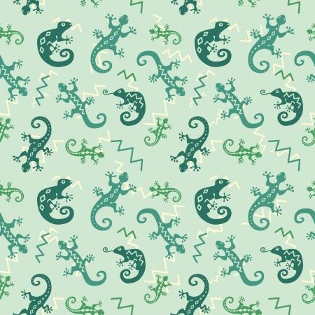 jaszczurka: Zielone jaszczurki i kameleony dekoracyjne bez szwu Ilustracja