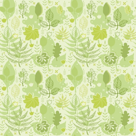 Green summer seamless pattern of decorative leaves Vector