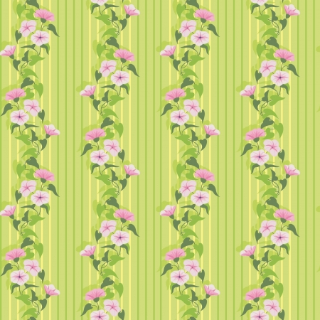 pink wall paper: Green summer wallpaper with flowering pink bindweed Illustration