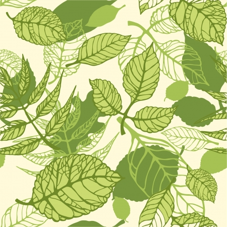 Seamless pattern of green summer leaves Vector