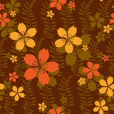 Bright seamless floral background, flowers and leaves Vector