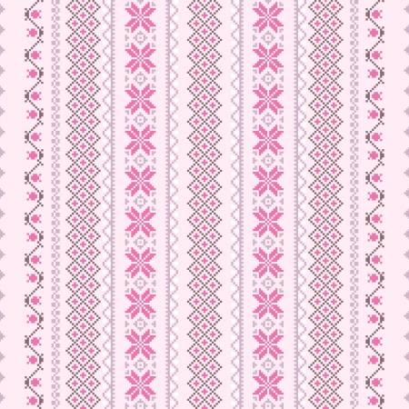 needle cushion: Cross-stitch vector seamless background in pink Illustration