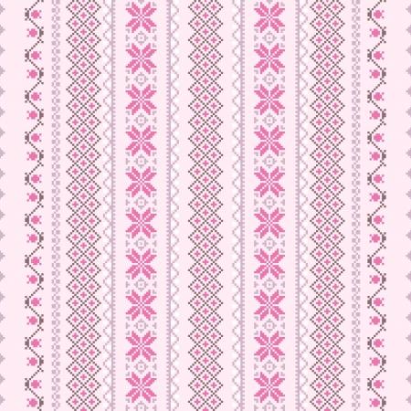 punto de cruz: Punto de cruz de vectores sin fisuras de fondo en color rosa
