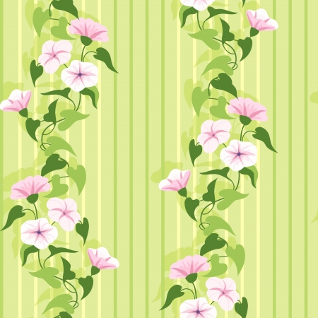 climbing wall: Green summer foral pattern with flowering pink flowers