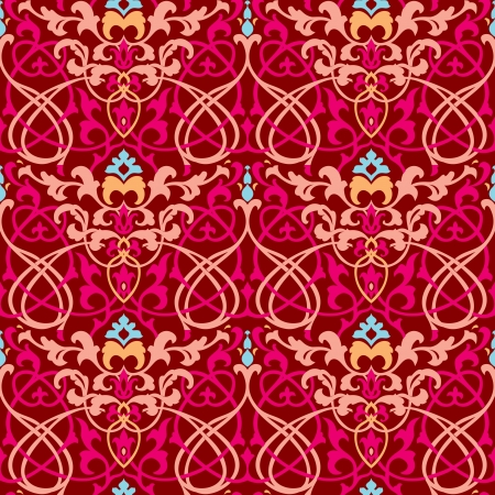 colorful oriental vintage wallpaper red and brown seamless ornament Vector