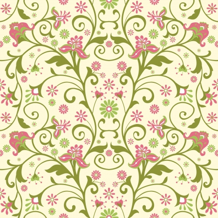 oriental season: Colorful floral wallpaper with decorative flowers; seamless pattern