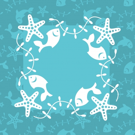Sea life decorative card template; marine background in turquoise Vector