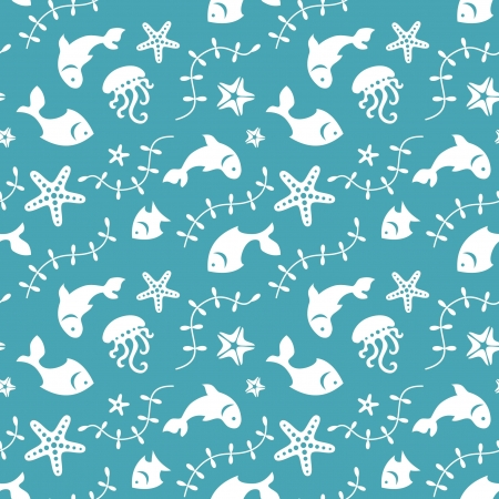 the marine life: Sea life seamless pattern with fishes and marine life