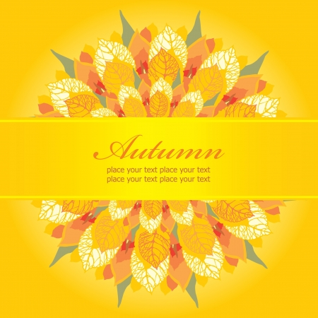 Autumn floral card, template with place for your text  Vector
