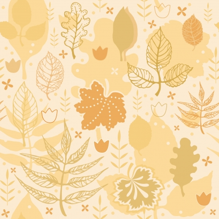 Decorative autumn floral seamless texture with leaves in orange Vector