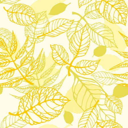Yellow decorative seamless texture with autumnal leaves Vector
