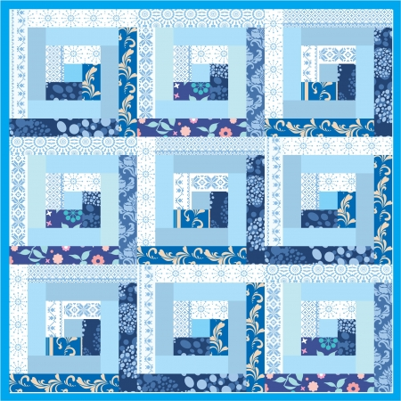 quilted fabric: Blue handmade patchwork quilt pattern folk style
