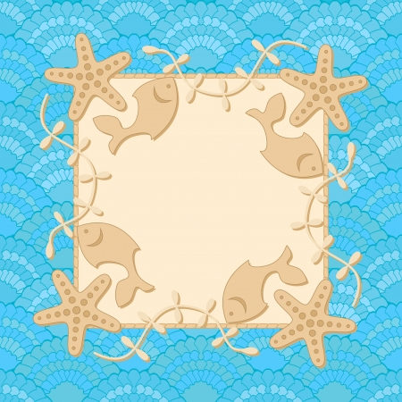 Cartoon sea frame template with place for text Vector