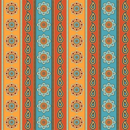 Colorful striped seamless background indian style  Vector