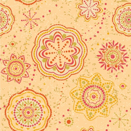 Ornamental seamless pattern with decorative round elements ethnic style Vector
