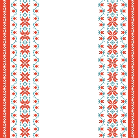 slavic: Embroidered background in folk style with space for text Illustration