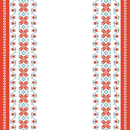 slavic: Sfondo ricamato in stile folk con spazio per il testo Vettoriali