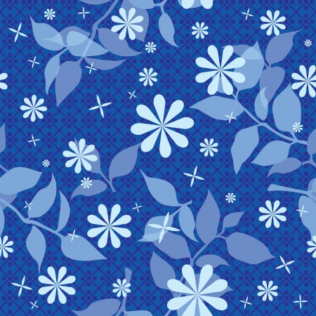 Seamless floral texture wallpaper with flowers in blue Vector