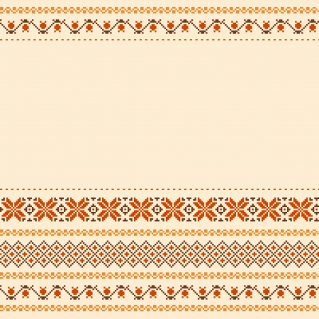 Folk style textile embroidered background with place for text Vector
