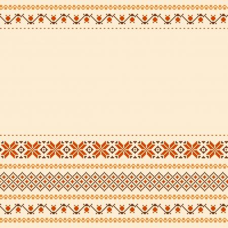 slavic: Folk tessile sfondo stile ricamato con il posto per il testo