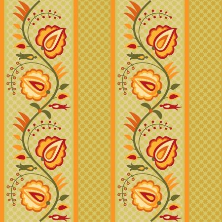 Green floral seamless ornament with flowers in folk style Vector