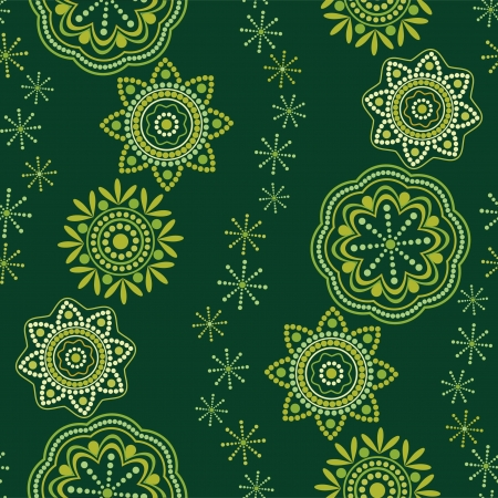 Green seamless pattern oriental ornament Vector
