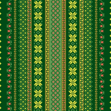 folklore: Textile seamless background in green